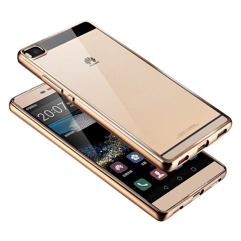 Case para huawei p8 edición estándar de casos de lujo oro verdadero revestimient