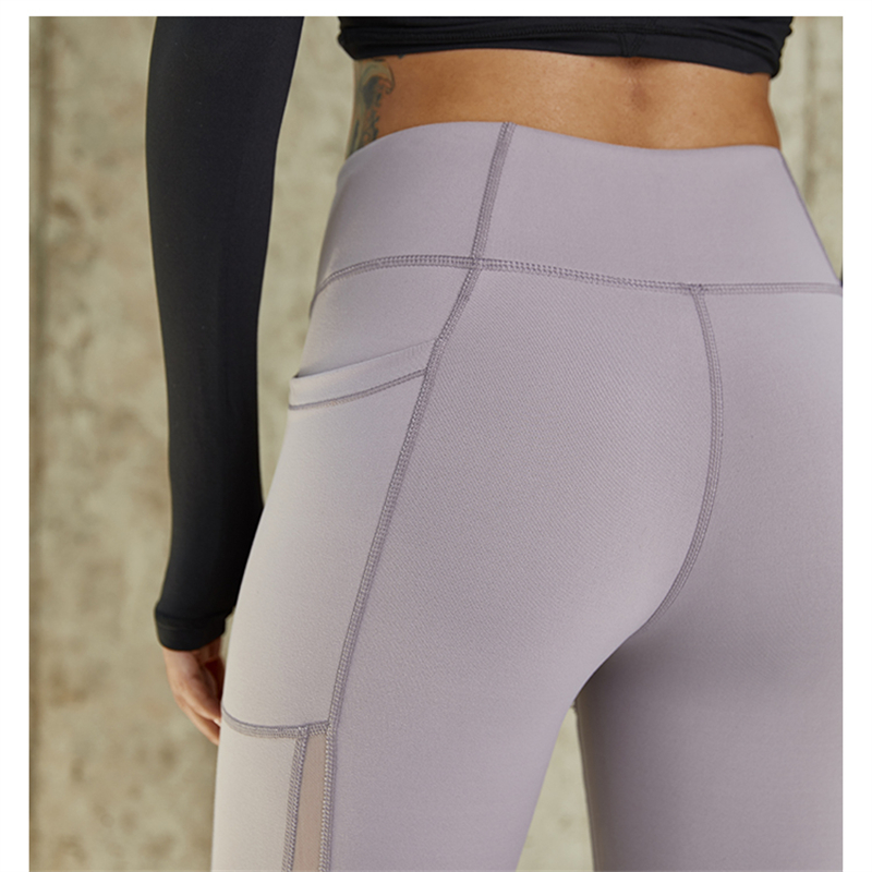 Oyoo High quality side mesh sport leggings red tummy control yoga pants with  pocket black gym pants women jogging femme tights-in Yoga Pants from Sports  ... 83b6b645b55
