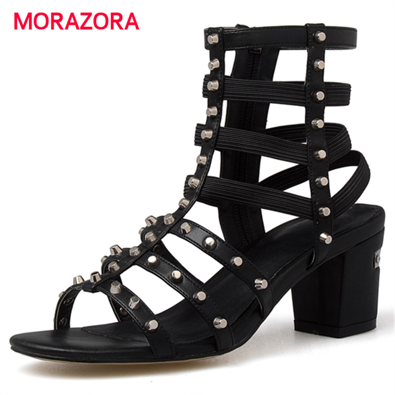 ФОТО MORAZORA 2017 New arrive roman shoes in summer high heels sandals women shoes zip rivets genuine leather shoes fashion party