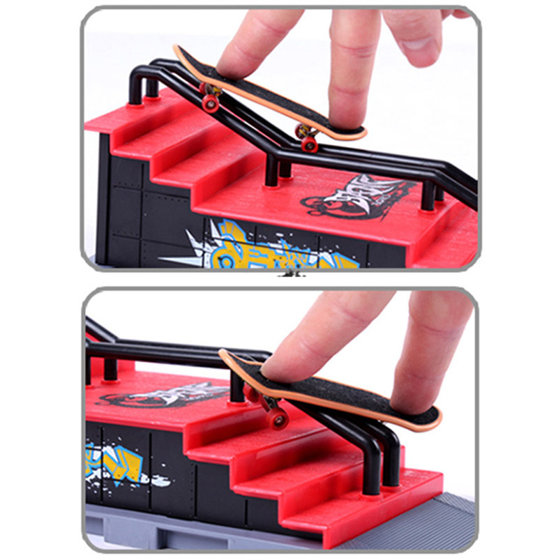 Fun SkateSpace Ramp Track Parts Table Games Fingerboard Kids Adult Indoor Table Toy Model Asemmbled Set Skateboards Track