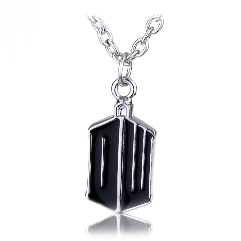 Movie Jewelry Doctor Who Logo necklace Punk Black Enamel Alloy pendant necklace