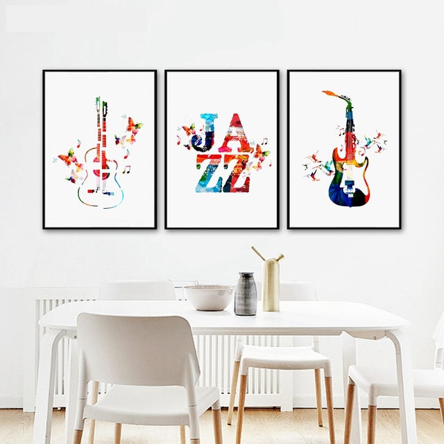 Colorful Music Guitar Poster Canvas Art Print Wall Picture Jazz