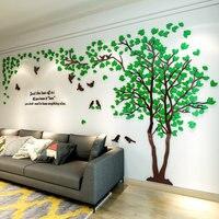 3D Дерево акриловое зеркало наклейки на стену DIY Искусство ТВ задний план стены постер для декорации дома спальни гостиной стены стикеры s