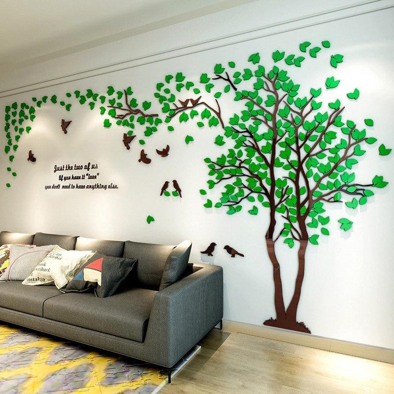 3D עץ אקריליק מראה קיר מדבקת מדבקות DIY אמנות טלוויזיה רקע קיר פוסטר עיצוב הבית שינה סלון Wallstickers
