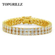 High Quality Bling Tennis Bracelet 2 Rows AAA+ Cubic Zirconia Charm Bracelets Jewelry All Iced Out Hip Hop Fashion Jewelry Gifts(China)