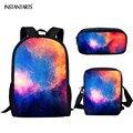 INSTANTARTS красочные галактические Звездные принты школьные рюкзаки для подростков маленькая сумка через плечо сумки-карандаши наборы студенч...