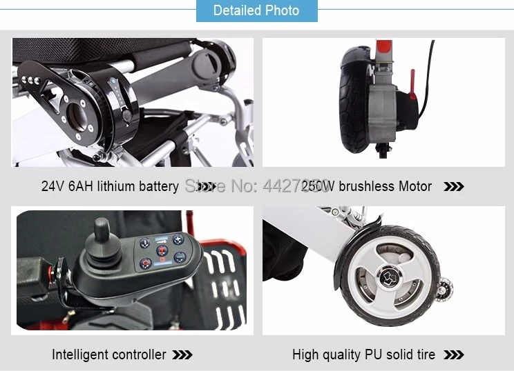 Free shipping 6 colors foldable electric large loading 180kg power electric wheelchair for disabled people 14