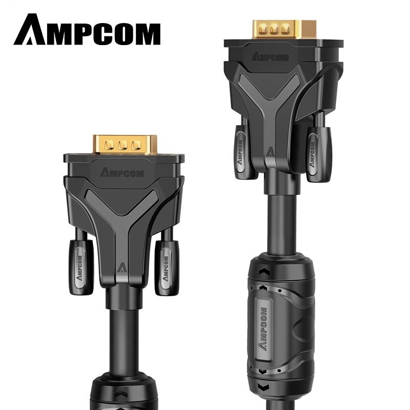AMPCOM VGA кабель, VGA к VGA кабель (SVGA кабель) папа к мужчине 1080P супер VGA дисплей шнур для ПК проектор ноутбук ТВ