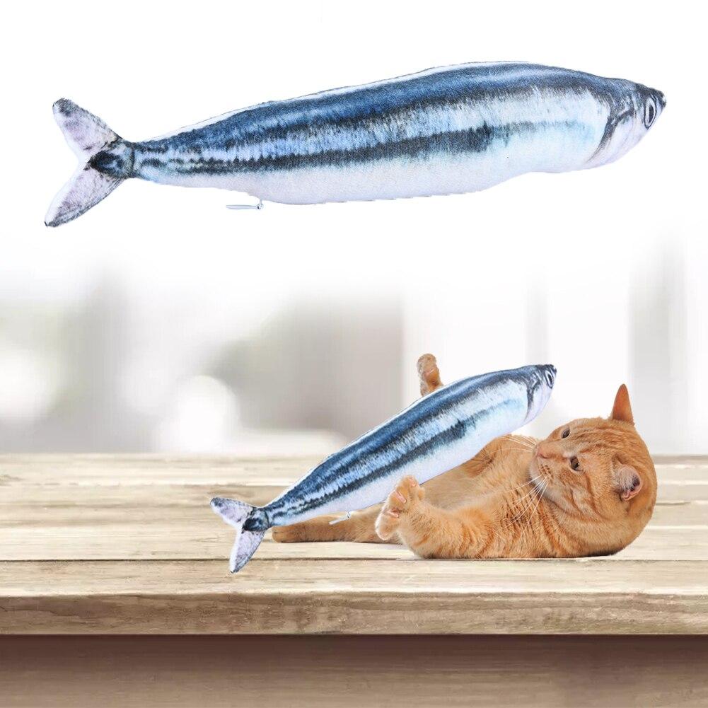 Два разных Цвета моделирование sauryfish Форма игрушка кошка тизер жевать мягкая кошка Развлечения игрушка