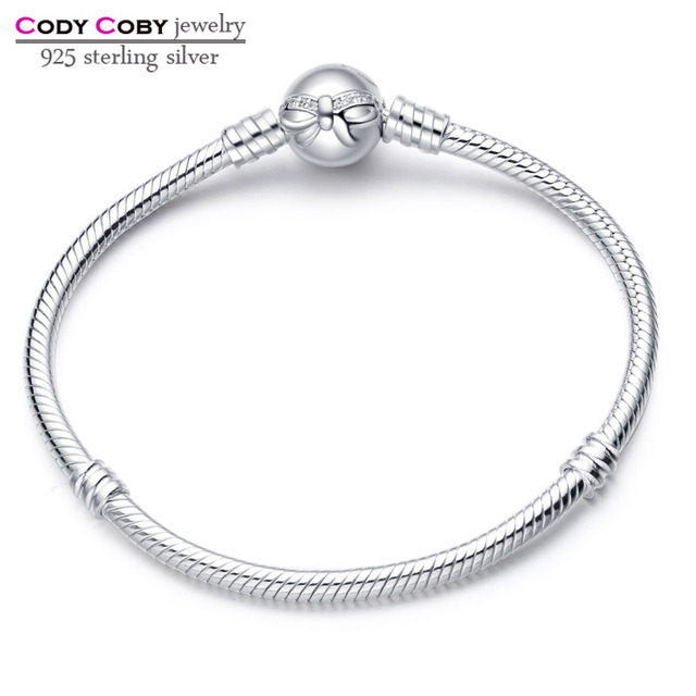 Cody Coby 925 Sterling Silver Bow Bracelet Snake Chain With Knot Clasp Bracelets For Women Men