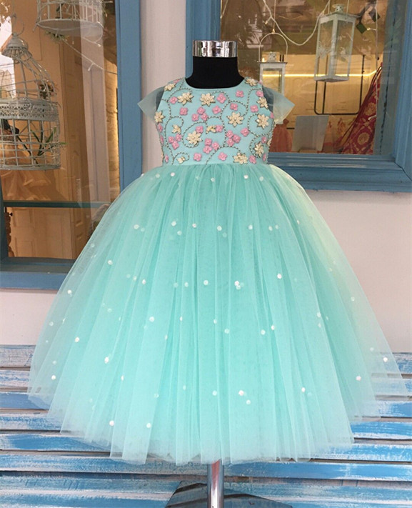 все цены на Real Picture Ball Gown Customized Flower Girls Dresses Formal Girls Pageant Party Birthday Gown Vestidos Longo Custom Made Size онлайн