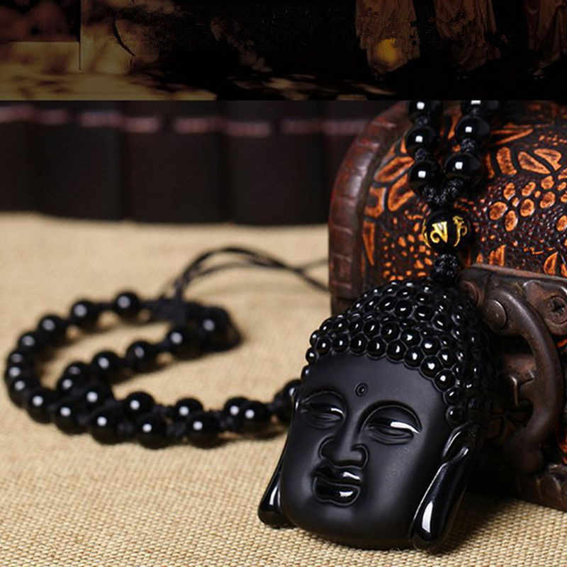 Fashion Black Obsidian Buddha Amulet Necklace Lucky Choker Pendant Jewelry Charm Tathagata Sweater Chain  For Women WSY9005