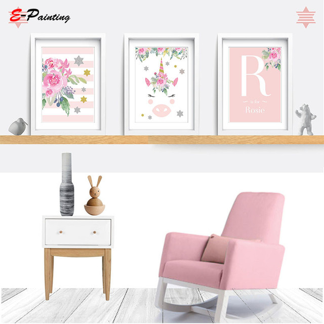 US $4.0 20% OFF|Modern Canvas Art Unicorn Nursery Wall Art Pink Decor  Flower Baby Girls Bedroom Decoration Poster Picture Kids Room Poster-in  Painting ...