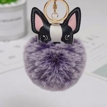 Francouzský buldoček Keychain Fluffy Králík Kožený Pulp Pompom Klíčenka Pu Kožené zvíře Pes Klíčenka Držák Bag Charm Trinket Chaveiros
