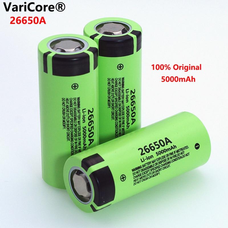 VariCore 26650A Li-Ion Батарея 3,7 V 5000mA Перезаряжаемые батареи разрядник 20A Мощность Батарея для фонарик электронные инструменты Батарея