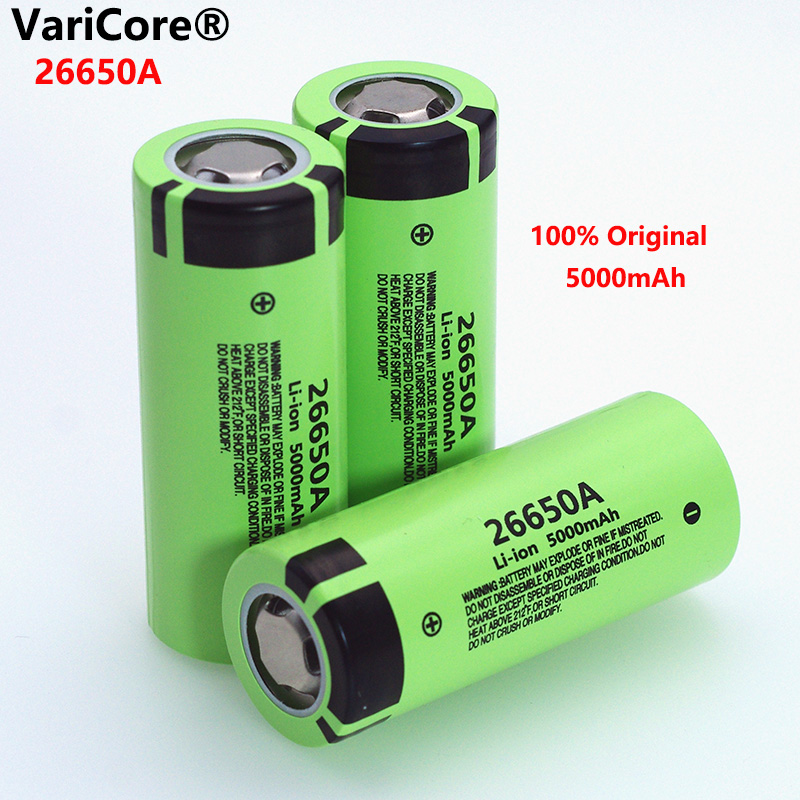 VariCore 26650A Li-ion Battery 3.7V 5000mA Rechargeable batteries Discharger 20A Power battery for flashlight E-tools battery image