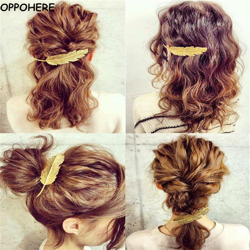 Metal Leaf Hair Clip Girls Vintage Gold Hairpin Princess Women Hair Accessories Barrettes Accesorios para el pelo hairpins 2017 characteristic metal leaf pattern hairpin for women (one piece