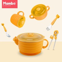 6pcs Training Infant Dinnerware Set Kids Feeding Supplies With Handle Nonslip Suction Cup Baby Bowl Spoon