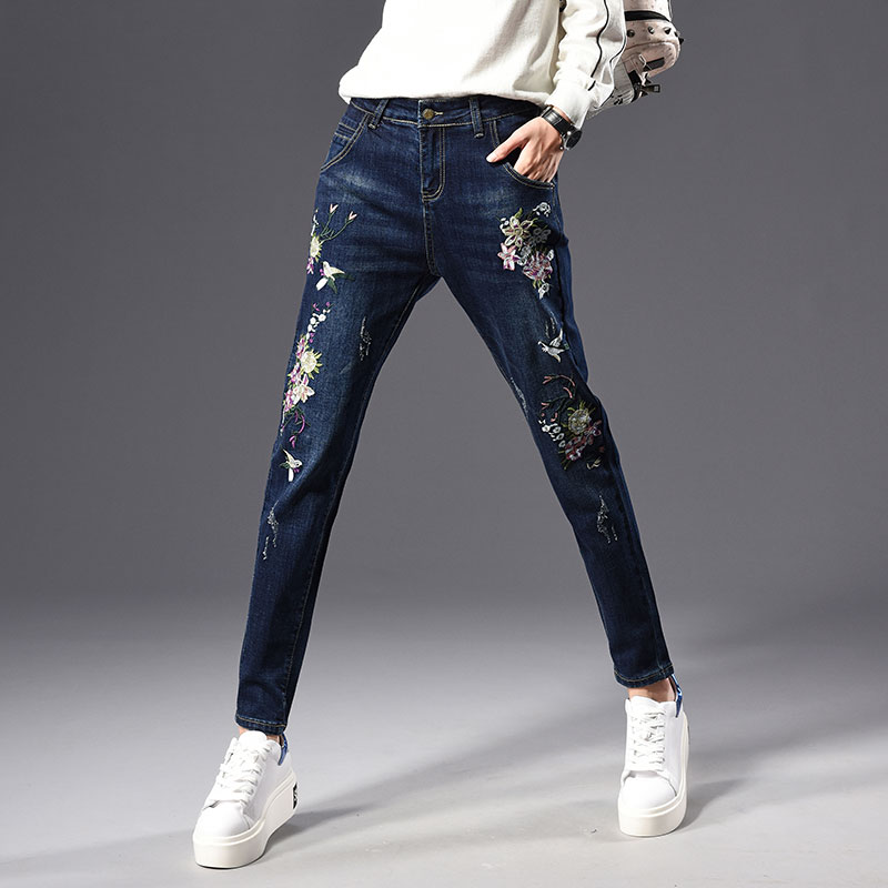 Nueva Pantalones Otoño Casual Alta Capris Cintura Fls0802 Mujeres Harem Moda Bordado Jeans Algodón Para Primavera Mezcla Denim Las xOqOZrvI