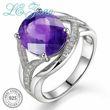 L&zuan Natural 4.71CT Amethyst Rings for Women 925 Sterling Silver Fine Jewelry Cubic Zircons Party Ring Female Accessories