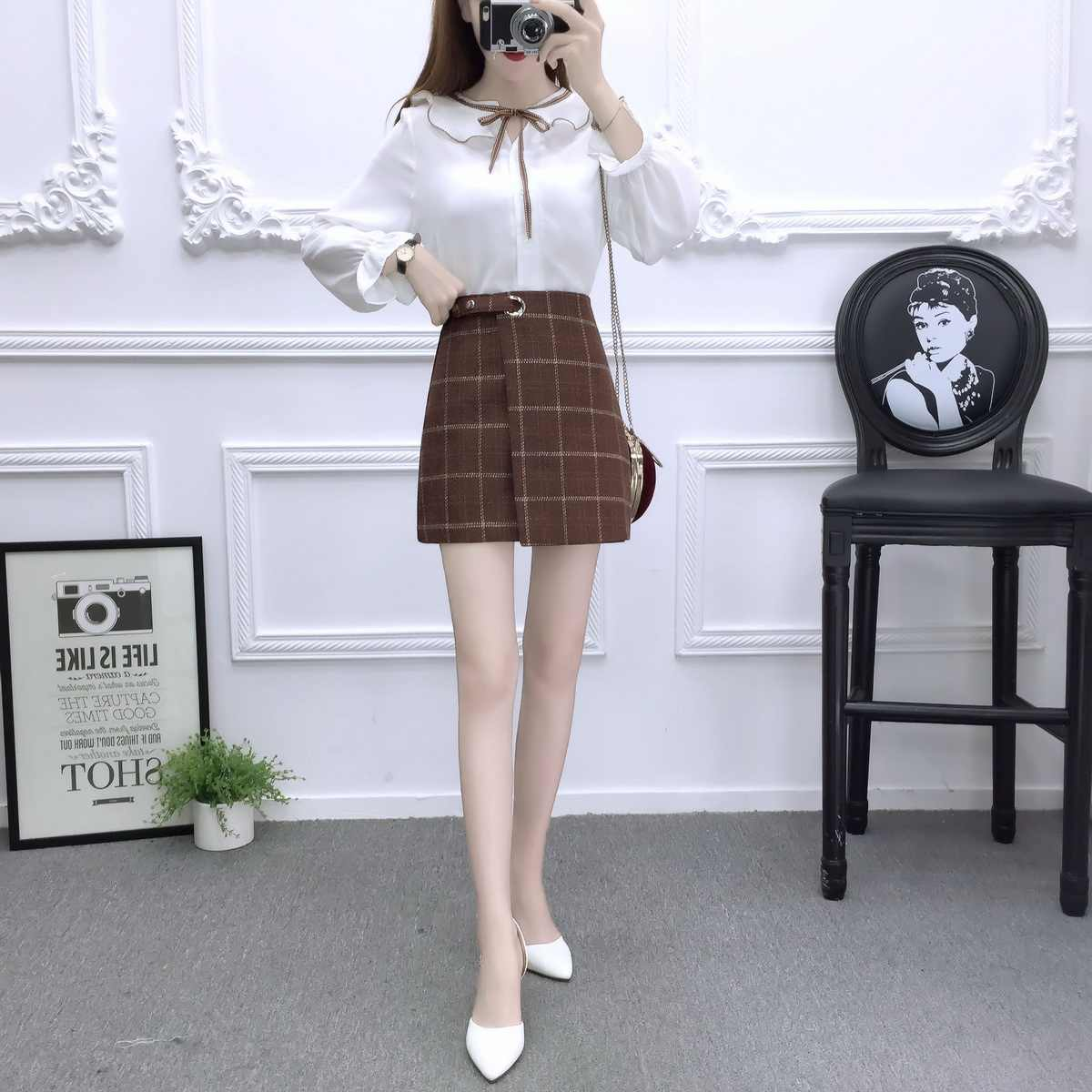 c97f1d719c90 ... Korean fashion suits women chiffon blouse top & bust skirt of tall  waist cloth grid two ...