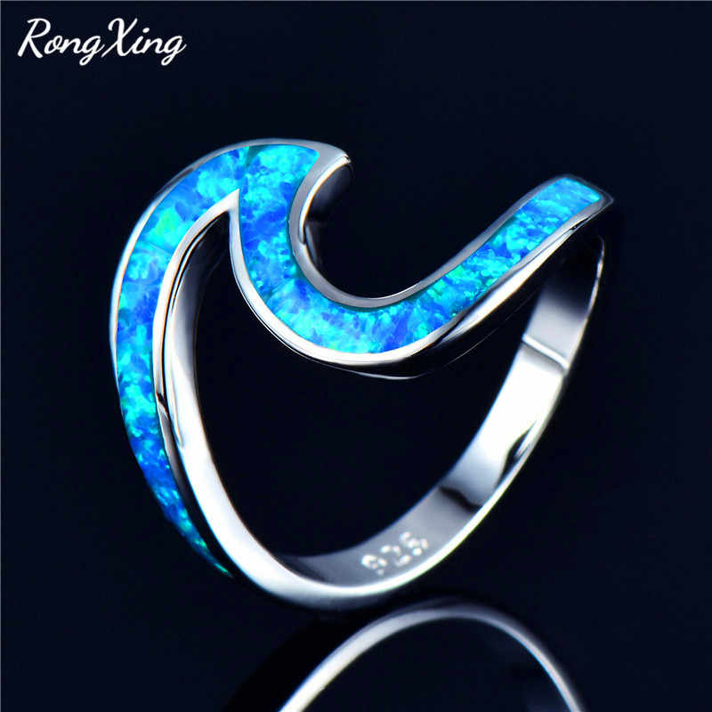 RongXing White/Blue/Green/Orange/Pink Fire Opal Ocean Wave Rings for Women 925 Sterling Silver Filled Birthstone Ring Beach Gift