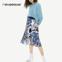 women stylish skirt pleated high waist print mid-calf streetwear ladies skirts England style elastic waist casual 2019 new skirt stylish print knot skirt for women