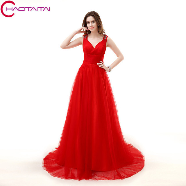 V neck Red Prom Dresses Sheer Back Tulle Cheap With Handmade Flower ...