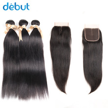 hot deal buy debut indian hair silky straight  cheap price hair bundles with closure 2/3/4 bundles hair bundles with 4x4 lace frontal
