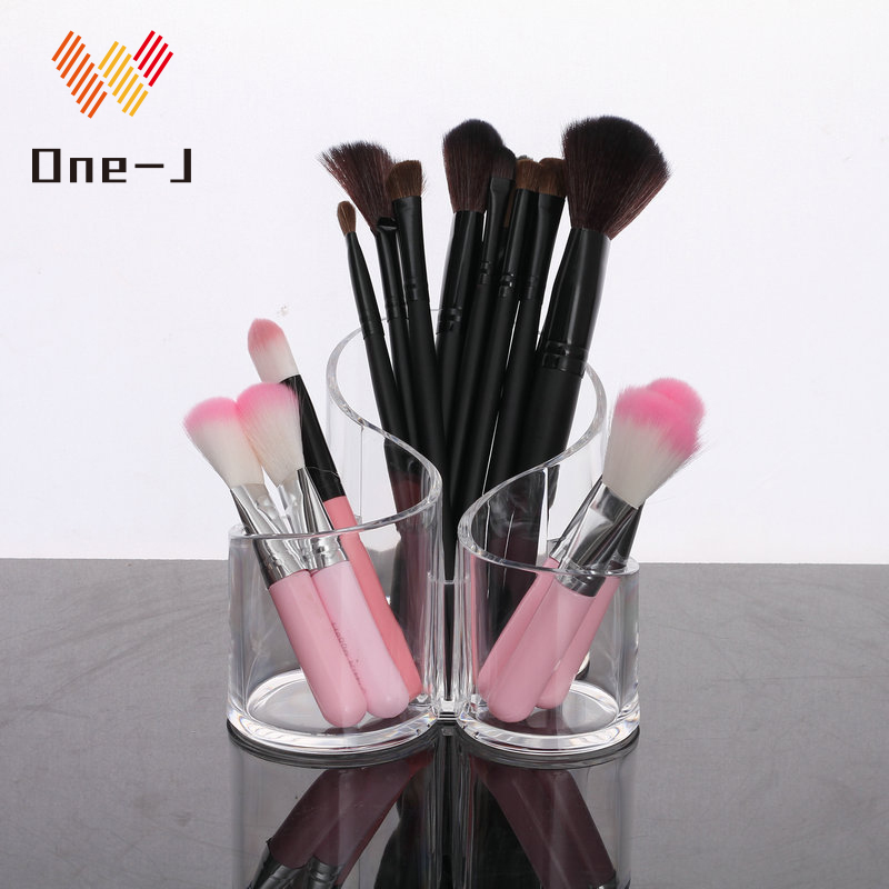 New 3 color transparent acrylic eyebrow pencil makeup brush rack desktop beauty cosmetics storage box