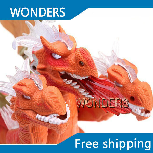 Free Shipping Electronic Jurassic Three-Headed Dinosaur With Sound & Flash Lights, 2014 New Electronic Pet Toy For Children