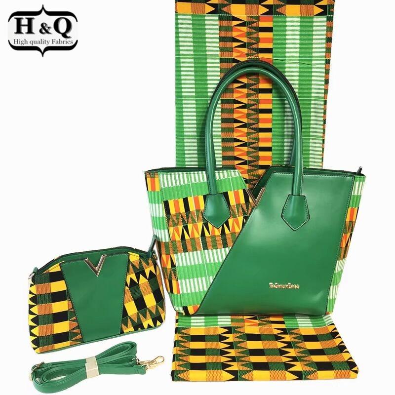 H Q 3 pieces set Popular kente wax bag sets 100 cotton real wax fabric 6
