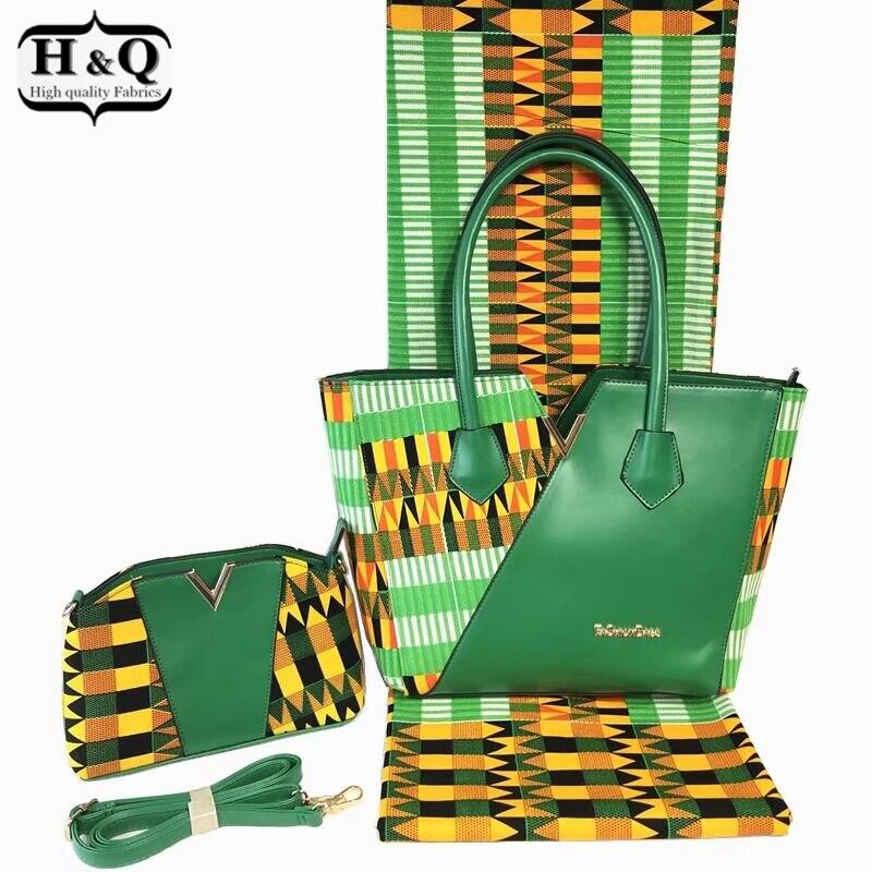 H & Q 3 stuks/set Populaire kente wax zak sets 100% katoen echte wax stof 6 yards/pcs met afrikaanse vrouw wax handtas voor Vrouwen-in Stof van Huis & Tuin op  Groep 1