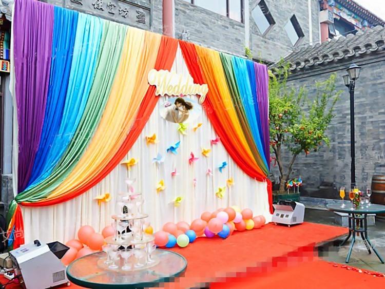 Горячая Распродажа, ледяная шелковая ткань, для детей, для душа, для вечеринки, для дня рождения, фон, занавеска, радужная Свадебная гирлянда,