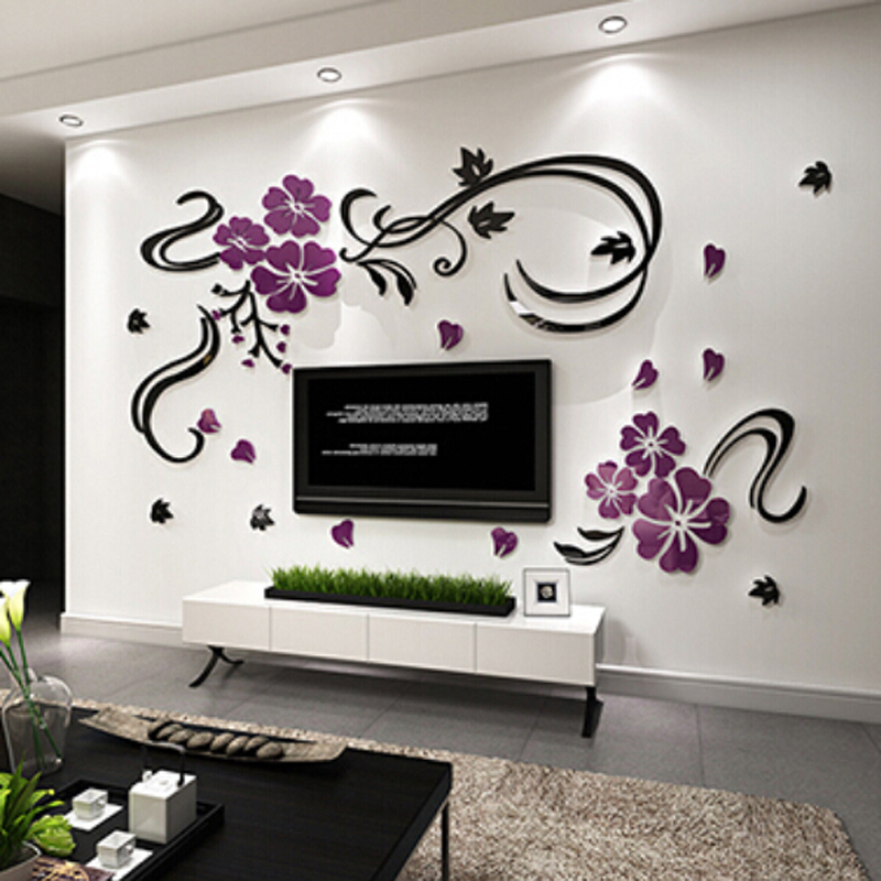Stereoscopic Wall Stickers Xs S M Acrylic Joy Flower Vine Decor Room Tv Background Decoration Home Decal In From