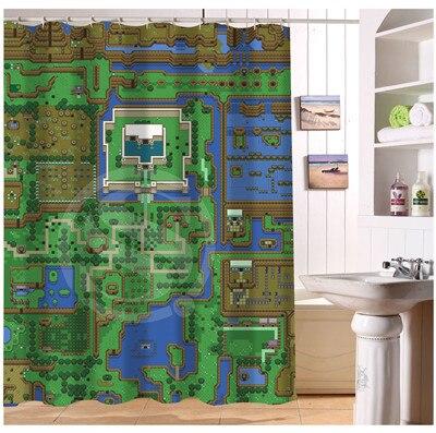 YY612f55 New Custom The Legend Of Zelda Map Modern Shower Curtain Bathroom Waterproof LJ W55