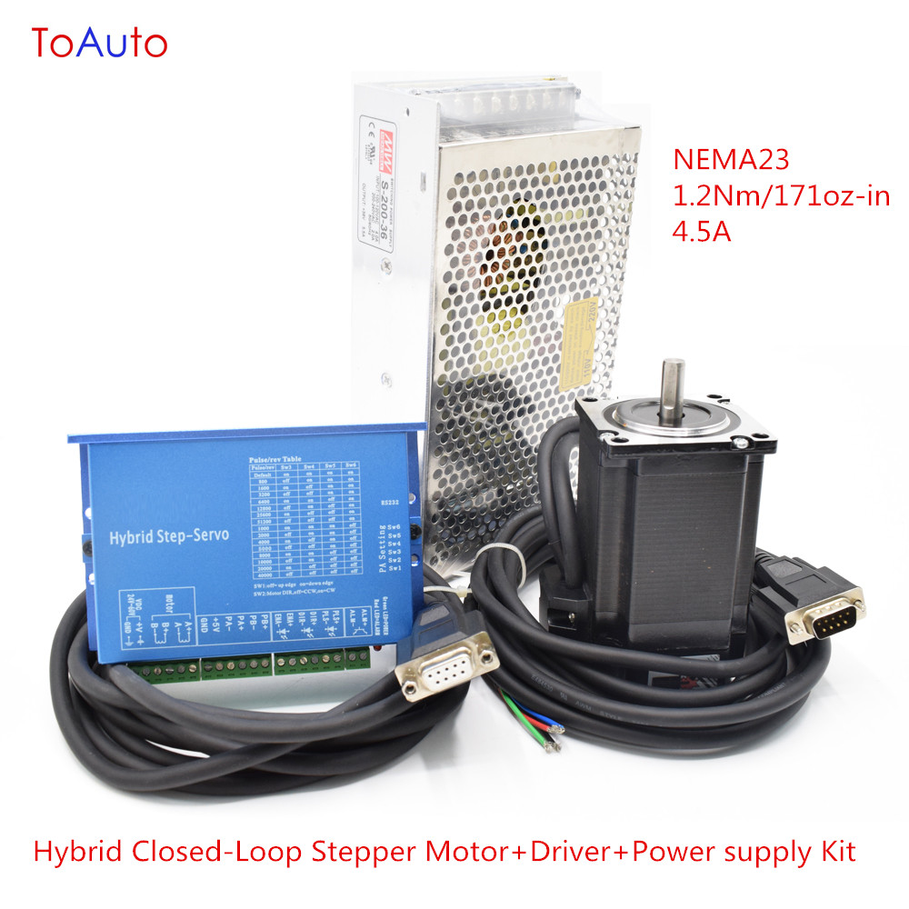 NEW NEMA23 1.2Nm 171oz-in 4.5A Stepper Kit Hybrid Closed-Loop Stepper Motor+Driver+Power supply Kit for CNC Router/Laser Machine spot supply new 57d 6 line stepper motor