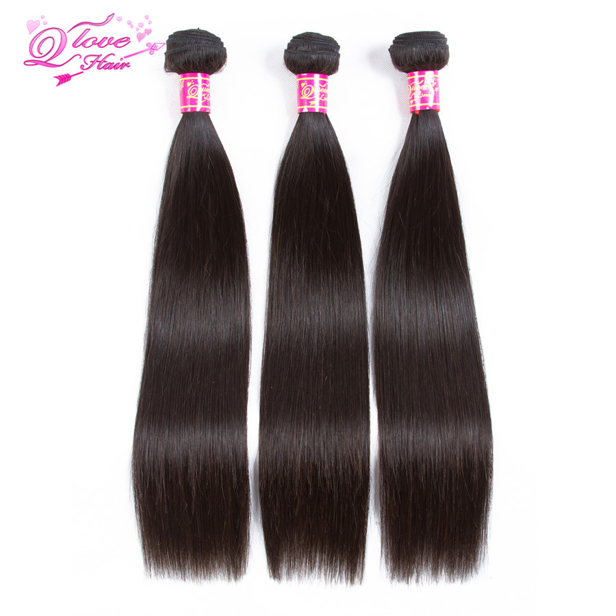 Queen Love Hair Brazilian Straight Human Hair 3/4 Piece Hair Weave Bundles 8-26 inch Nat ...