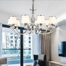 現代光沢クロームメタルledシャンデリア照明クリスタルリビングルームledペンダントシャンデリアライト寝室のled