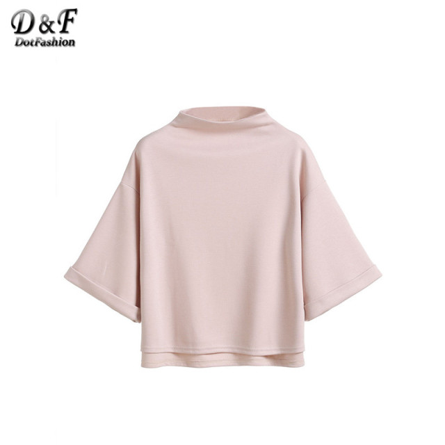 Dotfashion Women Loose Tops 2016 Plain Tees Mock Neck Drop Shoulder Half Sleeve High Low Cuffed T-shirt