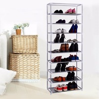 Portable Practical 10 Tier Layer Shoe Tower Rack Shelf Cabinet Stand Space Saving Organiser Storage For All Kinds Of Shoes