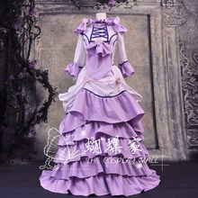 Japan Anime Chobits Chii Cosplay Costume Custom Made Purple Dress with Bustle Halloween Roleplay Costume