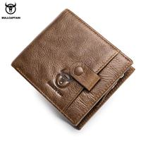 BULLCAPTAIN Genuine Leather Men Wallet Small Zipper Men Walet Portomonee Male Short Coin Mini Male Purses Card Holder Wallet
