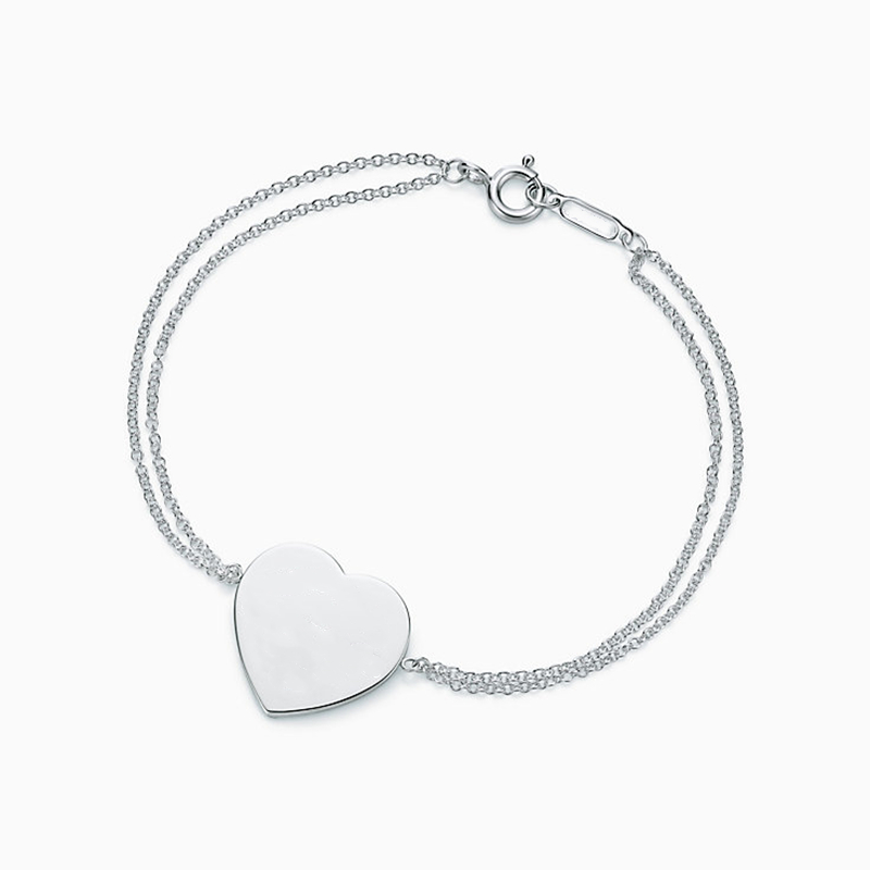 SHINETUNG 100% TIFF Bracelet S925 Sterling Silver Original Heart Tag For Women Fashion Jewelry Gift
