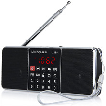 Portable Rechargeable Stereo L-288 Mini FM Radio Speaker Music Player with TF Card USB Disk LCD Screen Volume Control Loudspeake