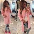 Женщины Моды Пальто женская С Длинным Рукавом Трикотажные Куртки Свободные Пиджаки Пальто Куртки Розовый S