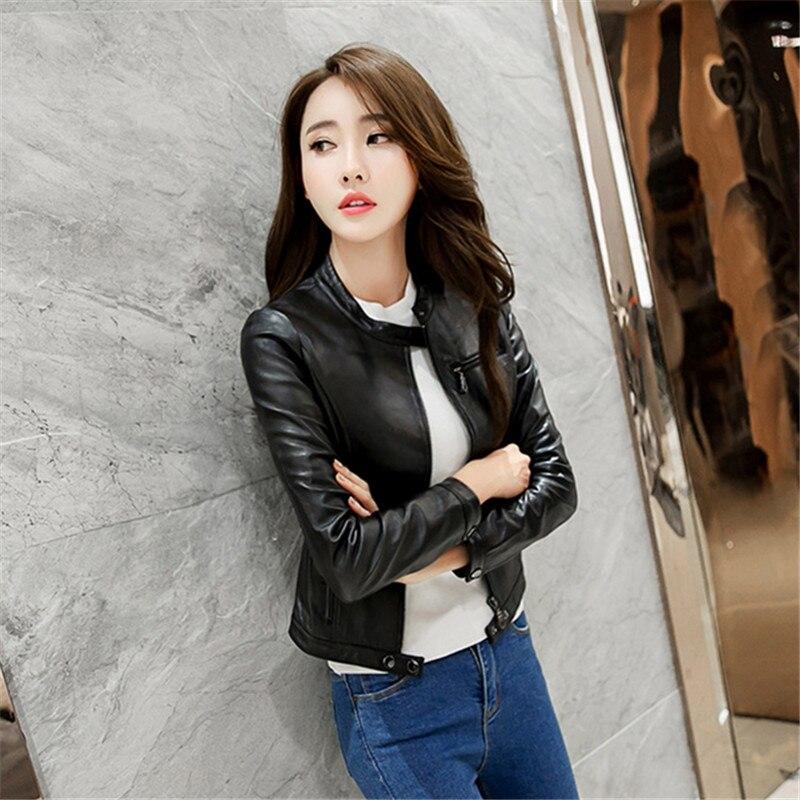 Plus Streetwear Rouge Bouton Noir Printemps Pu Cuir rouge La Courte Femmes Bombardier Veste blanc En Minceur Surdimensionné Taille Parkas KJ31lcTF