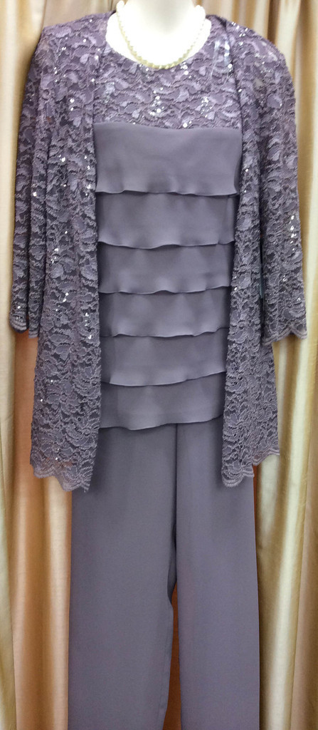 3 Piece Dusty Pink Long Sleeve Chiffon Mother Of The Bride