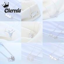 Chereda Silver Chain Animal Necklace for Women Cute Pendant Romantic Choker collares de moda