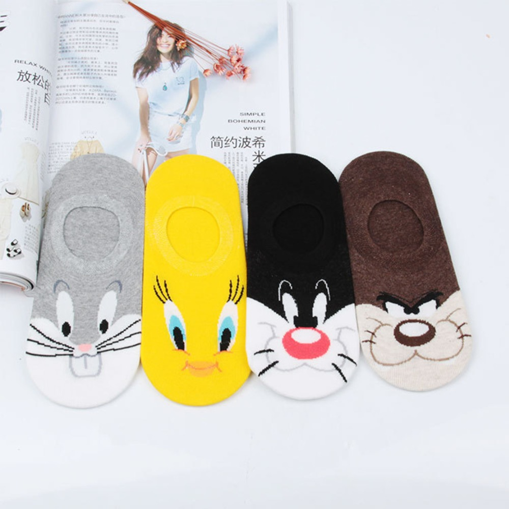 Anime Sylvester Tweety Mysteries cos   socks   cute funny cartoon animal women   sock   spring summer invisible calcetines bajos mujer